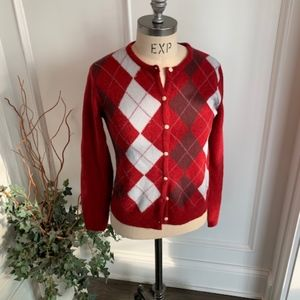 Abercrombie &Fitch Women's Argyle Cardigan Sweater